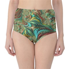 Fractal Artwork Pattern Digital High-Waist Bikini Bottoms