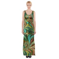 Fractal Artwork Pattern Digital Maxi Thigh Split Dress