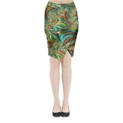 Fractal Artwork Pattern Digital Midi Wrap Pencil Skirt
