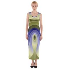 Fractal Eye Fantasy Digital Fitted Maxi Dress