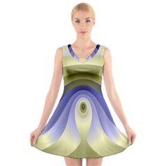 Fractal Eye Fantasy Digital V Neck Sleeveless Skater Dress