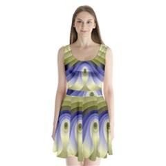 Fractal Eye Fantasy Digital Split Back Mini Dress
