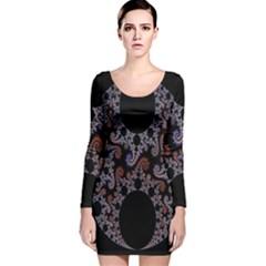 Fractal Complexity Geometric Long Sleeve Velvet Bodycon Dress