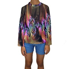 Fractal Colorful Background Kids  Long Sleeve Swimwear