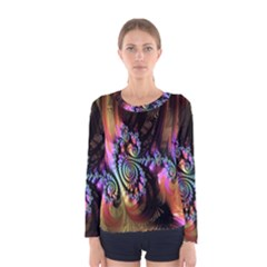 Fractal Colorful Background Women s Long Sleeve Tee