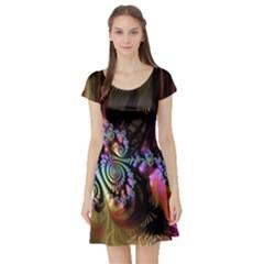 Fractal Colorful Background Short Sleeve Skater Dress