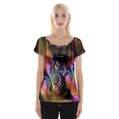 Fractal Colorful Background Women s Cap Sleeve Top