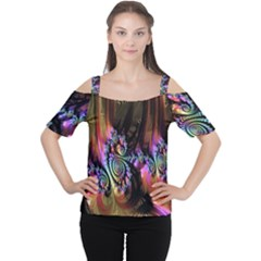 Fractal Colorful Background Women s Cutout Shoulder Tee