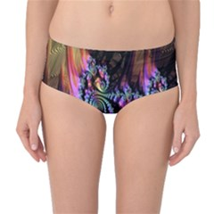 Fractal Colorful Background Mid-Waist Bikini Bottoms