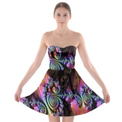 Fractal Colorful Background Strapless Bra Top Dress