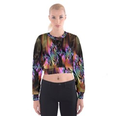 Fractal Colorful Background Women s Cropped Sweatshirt