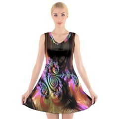 Fractal Colorful Background V Neck Sleeveless Skater Dress