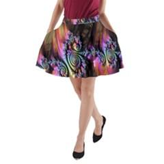 Fractal Colorful Background A Line Pocket Skirt