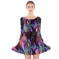 Fractal Colorful Background Long Sleeve Velvet Skater Dress