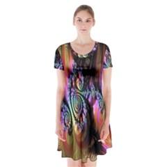 Fractal Colorful Background Short Sleeve V-neck Flare Dress