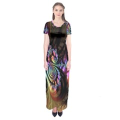 Fractal Colorful Background Short Sleeve Maxi Dress