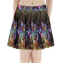 Fractal Colorful Background Pleated Mini Skirt