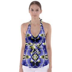 Fractal Fantasy Blue Beauty Babydoll Tankini Top