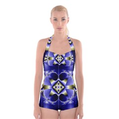Fractal Fantasy Blue Beauty Boyleg Halter Swimsuit