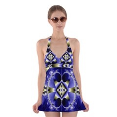 Fractal Fantasy Blue Beauty Halter Swimsuit Dress