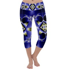 Fractal Fantasy Blue Beauty Capri Yoga Leggings