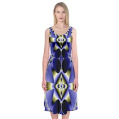 Fractal Fantasy Blue Beauty Midi Sleeveless Dress