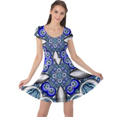 Fractal Cathedral Pattern Mosaic Cap Sleeve Dresses