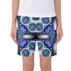 Fractal Cathedral Pattern Mosaic Women s Basketball Shorts