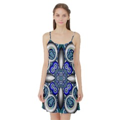 Fractal Cathedral Pattern Mosaic Satin Night Slip