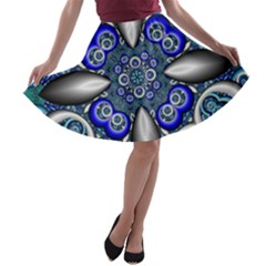 Fractal Cathedral Pattern Mosaic A-line Skater Skirt