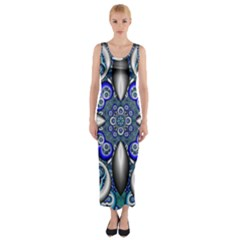 Fractal Cathedral Pattern Mosaic Fitted Maxi Dress