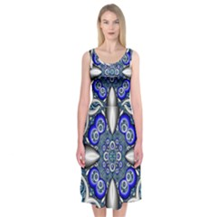 Fractal Cathedral Pattern Mosaic Midi Sleeveless Dress