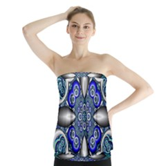 Fractal Cathedral Pattern Mosaic Strapless Top