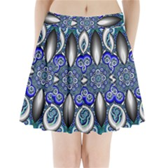 Fractal Cathedral Pattern Mosaic Pleated Mini Skirt