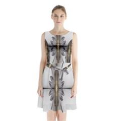 Fractal Fleur Elegance Flower Sleeveless Chiffon Waist Tie Dress