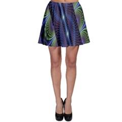 Fractal Blue Lines Colorful Skater Skirt