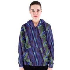 Fractal Blue Lines Colorful Women s Zipper Hoodie