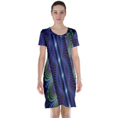 Fractal Blue Lines Colorful Short Sleeve Nightdress