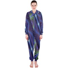 Fractal Blue Lines Colorful Hooded Jumpsuit (ladies)