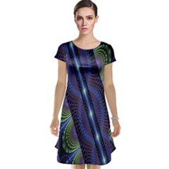 Fractal Blue Lines Colorful Cap Sleeve Nightdress
