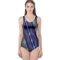 Fractal Blue Lines Colorful One Piece Swimsuit