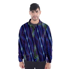 Fractal Blue Lines Colorful Wind Breaker (Men)