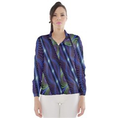 Fractal Blue Lines Colorful Wind Breaker (Women)