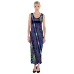 Fractal Blue Lines Colorful Fitted Maxi Dress