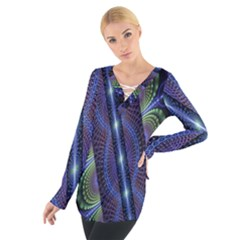 Fractal Blue Lines Colorful Women s Tie Up Tee