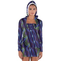 Fractal Blue Lines Colorful Women s Long Sleeve Hooded T Shirt