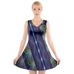 Fractal Blue Lines Colorful V Neck Sleeveless Skater Dress