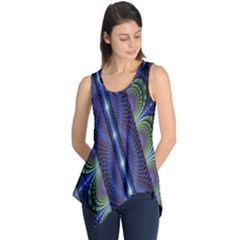 Fractal Blue Lines Colorful Sleeveless Tunic