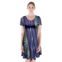 Fractal Blue Lines Colorful Short Sleeve V Neck Flare Dress