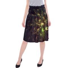 Fractal Flame Light Energy Midi Beach Skirt